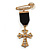 Medal Style Diamante Cross Charm Brooch (Gold Tone)
