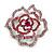 Stunning Pink Crystal Rose Brooch (Silver Tone)