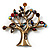 Vintage Multicoloured Tree Brooch (Bronze Tone) -7.5cm Length - view 1
