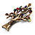 Vintage Multicoloured Tree Brooch (Bronze Tone) -7.5cm Length - view 11
