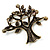 Vintage Multicoloured Tree Brooch (Bronze Tone) -7.5cm Length - view 9