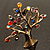 Vintage Multicoloured Tree Brooch (Bronze Tone) -7.5cm Length - view 5