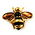 Gold Plated Bee Pin (Black & Light Brown) - view 1