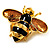 Gold Plated Bee Pin (Black & Light Brown) - view 3