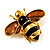 Gold Plated Bee Pin (Black & Light Brown) - view 5