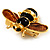 Gold Plated Bee Pin (Black & Light Brown) - view 7