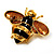 Gold Plated Bee Pin (Black & Light Brown) - view 9