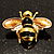 Gold Plated Bee Pin (Black & Light Brown) - view 10