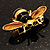 Gold Plated Bee Pin (Black & Light Brown) - view 4