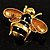 Gold Plated Bee Pin (Black & Light Brown) - view 11