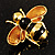 Gold Plated Bee Pin (Black & Light Brown) - view 2