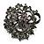 Ash Grey Diamante Corsage Brooch (Black Tone Metal)