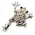 Clear Crystal 'Leaping Frog' (Silver Tone Metal) - view 5