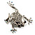 Clear Crystal 'Leaping Frog' (Silver Tone Metal) - view 7