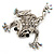 Clear Crystal 'Leaping Frog' (Silver Tone Metal) - view 3