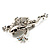 Clear Crystal 'Leaping Frog' (Silver Tone Metal) - view 9