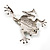 Clear Crystal 'Leaping Frog' (Silver Tone Metal) - view 6