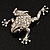 Clear Crystal 'Leaping Frog' (Silver Tone Metal) - view 2