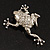 Clear Crystal 'Leaping Frog' (Silver Tone Metal) - view 4