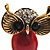 Vintage Enamel Diamante Owl Brooch (Antique Gold Metal) - view 4