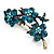 Top Grade Austrian Crystal Floral Brooch (Gold Tone & Teal Blue) - 55mm Across