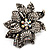 Large Diamante Floral Corsage Brooch (Antique Silver Tone) - view 1