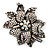 Large Diamante Floral Corsage Brooch (Antique Silver Tone) - view 4