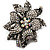 Large Diamante Floral Corsage Brooch (Antique Silver Tone) - view 10