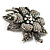 Large Diamante Floral Corsage Brooch (Antique Silver Tone) - view 6