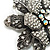 Large Diamante Floral Corsage Brooch (Antique Silver Tone) - view 8