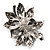 Large Diamante Floral Corsage Brooch (Antique Silver Tone) - view 7