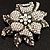 Large Diamante Floral Corsage Brooch (Antique Silver Tone) - view 2