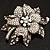 Large Diamante Floral Corsage Brooch (Antique Silver Tone) - view 14