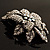 Large Diamante Floral Corsage Brooch (Antique Silver Tone) - view 15