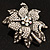 Large Diamante Floral Corsage Brooch (Antique Silver Tone) - view 5