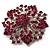 Victorian Corsage Flower Brooch (Silver & Bright Magenta) - view 3