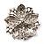 Victorian Corsage Flower Brooch (Silver & Bright Magenta) - view 4