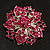 Victorian Corsage Flower Brooch (Silver & Bright Magenta) - view 2