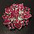 Victorian Corsage Flower Brooch (Silver & Bright Magenta) - view 6