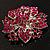Victorian Corsage Flower Brooch (Silver & Bright Magenta) - view 8