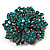 Victorian Corsage Flower Brooch (Antique Gold & Teal) - view 3
