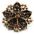 Victorian Corsage Flower Brooch (Antique Gold & Teal) - view 4