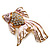 Light Pink Enamel Crystal Fish Brooch (Gold Plated Metal) - view 1