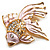 Light Pink Enamel Crystal Fish Brooch (Gold Plated Metal) - view 5