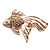 Light Pink Enamel Crystal Fish Brooch (Gold Plated Metal) - view 3