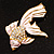 Light Pink Enamel Crystal Fish Brooch (Gold Plated Metal) - view 4