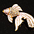 Light Pink Enamel Crystal Fish Brooch (Gold Plated Metal) - view 8
