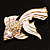Light Pink Enamel Crystal Fish Brooch (Gold Plated Metal) - view 9