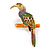 Multicoloured Enamel Exotic Parrot Bird Brooch (Gold Tone Metal) - 60mm L