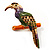 Multicoloured Enamel Exotic Parrot Bird Brooch (Gold Tone Metal) - 60mm L - view 5